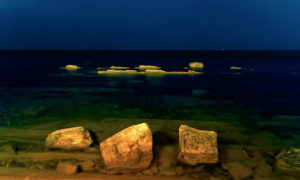 Дикий пляж ночью в Ольгинке - Левая сторона бухты